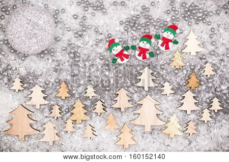 Christmas greeting card. Noel festive background. New year symbol. Snowman.