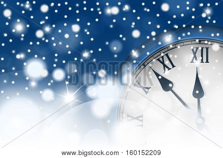 New Year And Christmas Concept With Vintage Clock In Blue Style. Vector Illustration