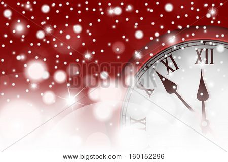 New Year And Christmas Concept With Vintage Clock In Red Style. Vector Illustration