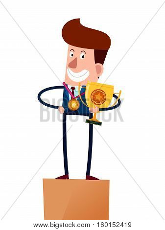 successful businessman hold trophy and medal standing on stage
