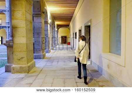 Historic Courtyard Of Spanish University Of Alcala De Henares, Spain