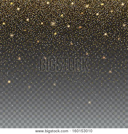Brilliant, golden and sparkling dust particles on transparent background. The falling, glittering golden rain or snowfall, ready background template for greeting card, Christmas invitation or cover