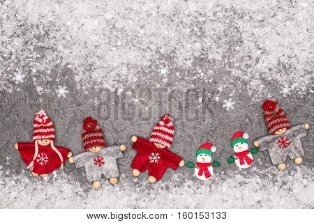 Christmas greeting card. Noel festive background. New year symbol. Children playing theme.