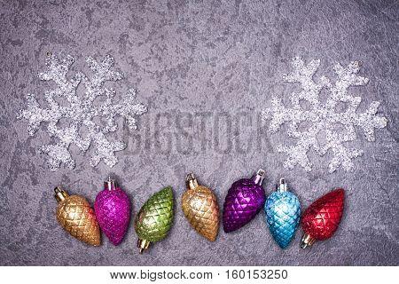 Christmas greeting card. Noel festive background. New year symbol. Cone.