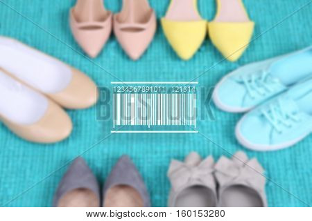 Barcode on blurred female fashion shoes background. Wholesale and retail concept.