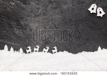 Christmas greeting card. Noel festive background. New year symbol. Christmas story theme. Festive background with copy space.