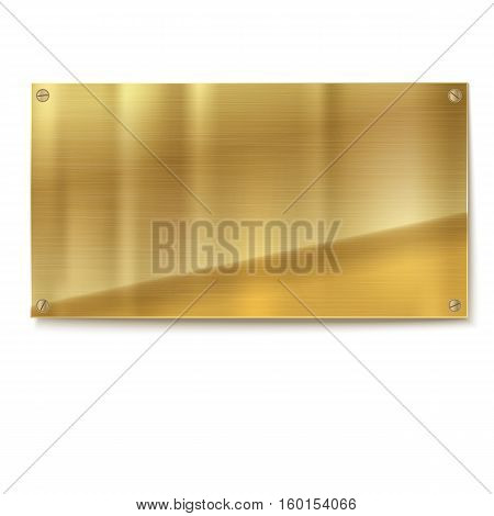 Shiny brushed metal gold, yellow plate banners on white background Stainless steel background, vector illustration for you