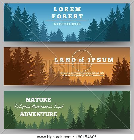 Green pines forest horizontal banners with pine trees vector illustration