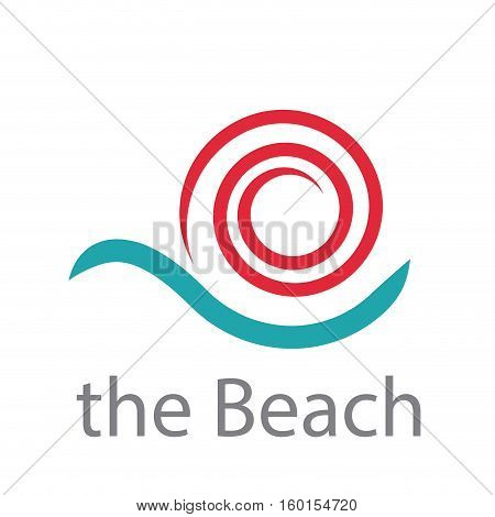 Vector sign sun and ocean, isolated abstract illustration