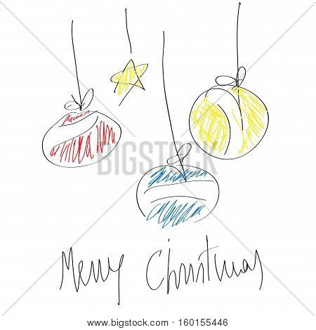 Abstract balls star scrawled with merry christmas text