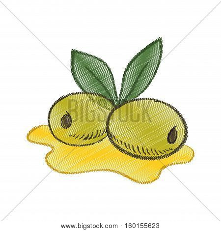drawing olive oil leaf spill vector illustration eps 10