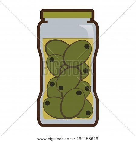 olives in jar preserve food vector illustration eps 10