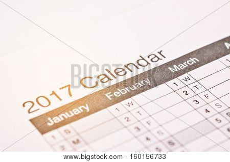 2017 wording on 2017 calendar desktop Happy new year 2017 for fill text in space background for new year Festival.