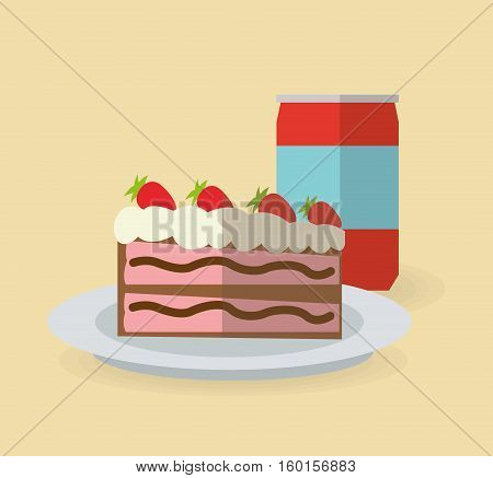 Cake and soda icon. Dessert sweet sugar and food theme. Colorful design. Vector illustration