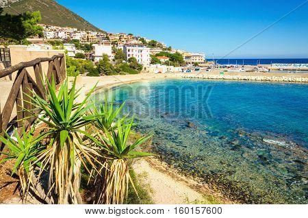 The beautiful sandy beach and crystal clear water, Cala Gonone, Golfo di Orosei, Sardinia, Italy