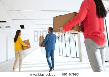 Rear view of businesswoman with colleagues carrying cardboard boxes moving into empty office