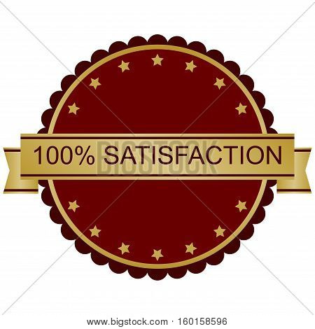 100 Satisfaction Guarantee. Red and gold vector image.