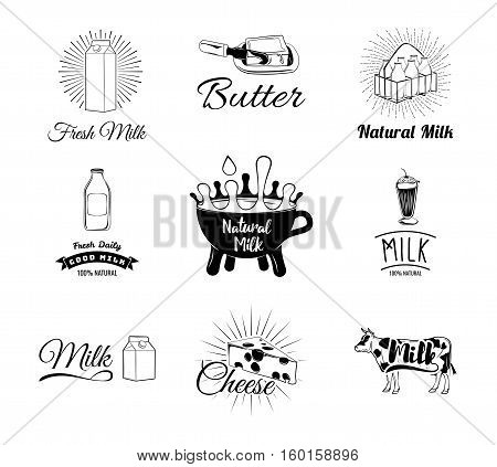 Milk and creamery labels, emblems and design elements. Vector Illustration Isolated On White Background
