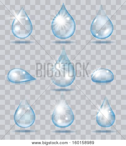 Falling water drops. Vector clean drop set on transparent background
