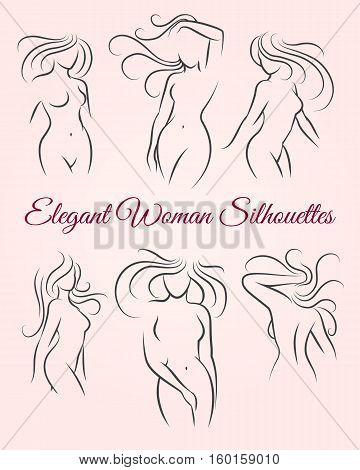 Six elegant long haired woman silhouettes drawn in a linear sketch style. For intimate hygiene and woman health, skin and hair and body caredesign. For diet and fitness illustration. Vector icons
