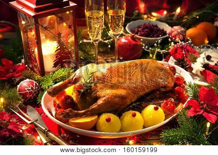 Christmas roast duck served on a festive table