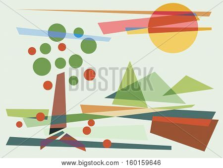 abstract geometric shapes rural landscape vector background