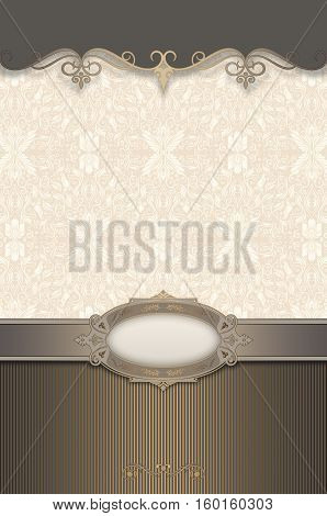 Ornate brown tones vintage background with decorative border elegant frame and old-fashioned patterns. Book cover or vintage card design.