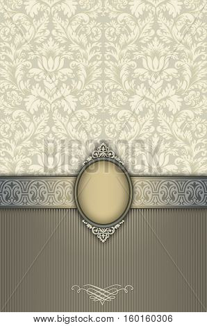 Vintage beige background with decorative border elegant frame and old-fashioned floral patterns.