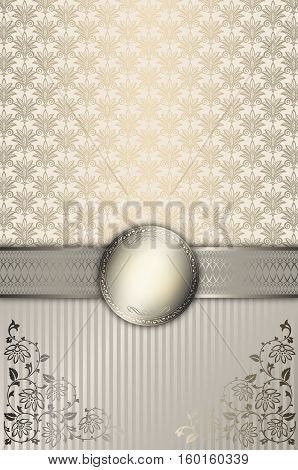 Vintage silver and gold background with floral patterns decorative border and frame.