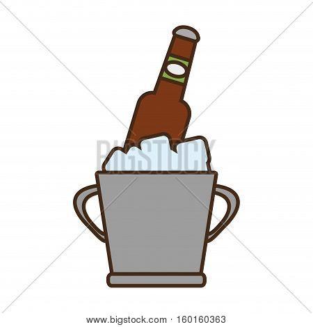 cartoon bucket beers cool ice design vector illustration eps 10