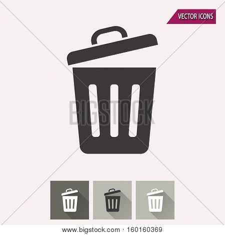 Bin vector icon. Illustration isolated for graphic and web design.