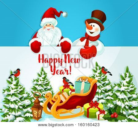 Santa Claus and snowman holding a New Year greeting card of santa sleigh with xmas gift and present box, holly berry and lantern, pine tree covered with snow. Winter holiday design