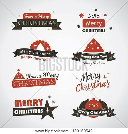 Christmas banners and labels - vintage vector emblems
