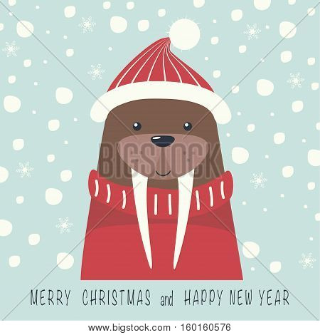 The cover design. Depicts a walrus in a cap and sweater in red. The phrase merry Christmas and a happy New year.