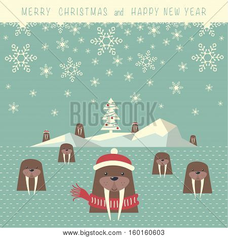 The cover design. Depicts an iceberg with christmas tree and nine walrus is a water. Phrase merry Christmas and a happy New year.