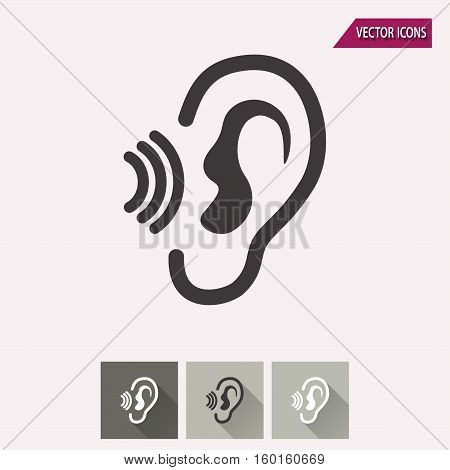 Ear vector icon. Illustration isolated for graphic and web design.