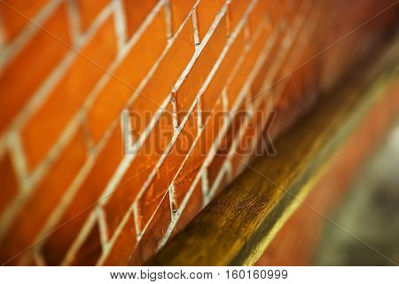 Diagonal Moscow metro handrail with brick wall background hd