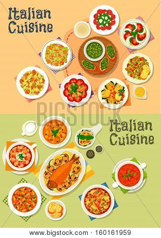 Italian cuisine icon set with pasta salad, caesar, basil pesto, minestrone soup, tomato mozzarella salad, beef carpaccio, baked fish and artichoke, bean, mushroom, tomato soups, spinach egg