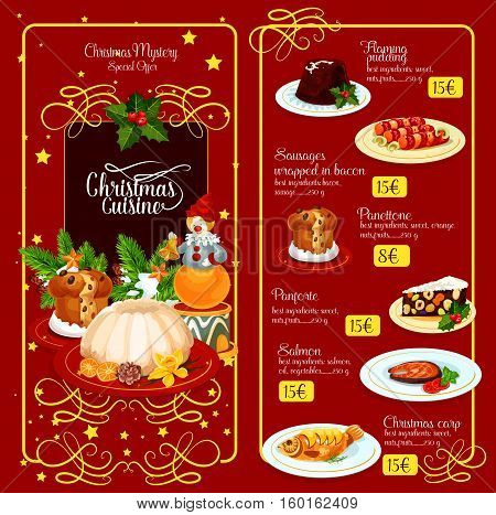 Christmas festive menu template design. British flaming pudding, baked fish, sausages in bacon, sweet bread, italian nut dessert, adorned by holly berry, pine tree, star. Restaurant menu design