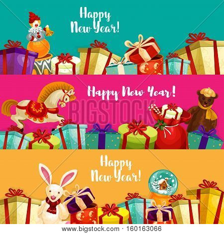 New Year gifts and toy banners set. Boxes with bow and ribbon, santa bag with candy cane, plush bear and rabbit, snow globe, rocking horse and clown with bell. Xmas and New Year theme design