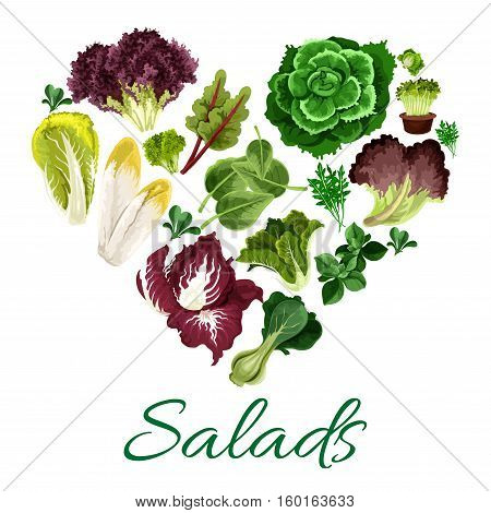 Vegetable greens heart symbol made up of fresh salad leaves of lettuce, pak choi and spinach, chinese cabbage and cress salad, iceberg, corn salad, radicchio and arugula, chicory, chard and batavia, sorrel