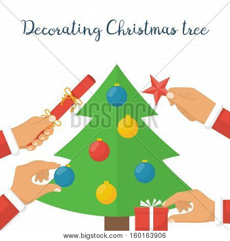Decorating Christmas tree. Team of people together, family holding objects attributes to decorate the Christmas tree. In  hands of gift, colored ball, cracker, star. Vector illustration flat design