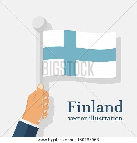 National flag Finland holding in the hands of man. December 6th, Finland Independence Day. Greeting card, template, banner. Vector illustration flat design. Isolated on white background.