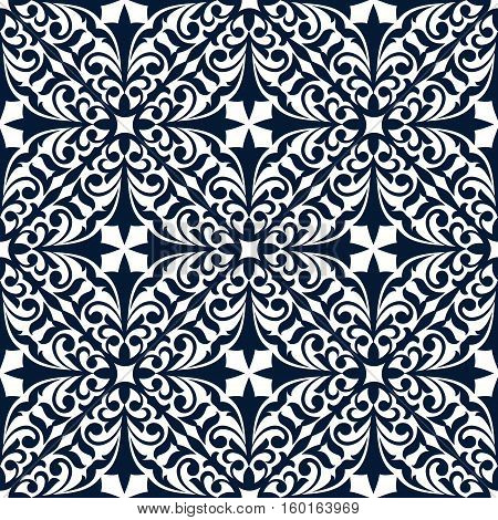 Floral arabesque seamless pattern of blue and white damask ornament with flourishes, curly leaves and tendrils. Tile or carpet tracery design