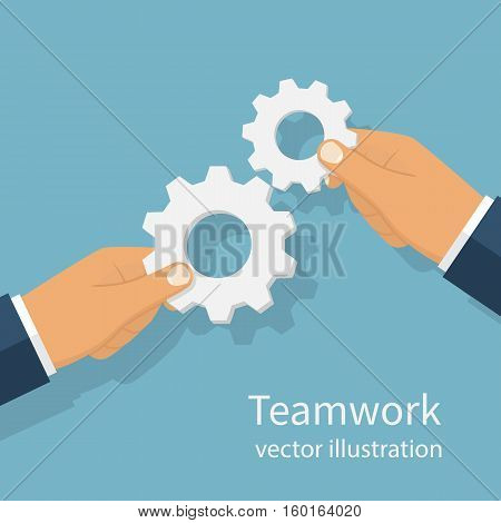 Gear hold in hands businessman. Effective teamwork concept. Cooperation. Vector illustration flat design. Template banner for web sites, space for text. Achieving results joint efforts.