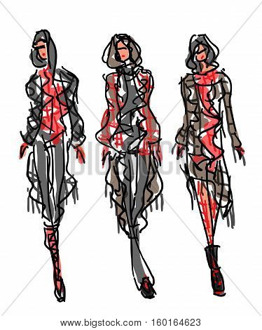 Sketch Fashion Women In Poncho Style - vector