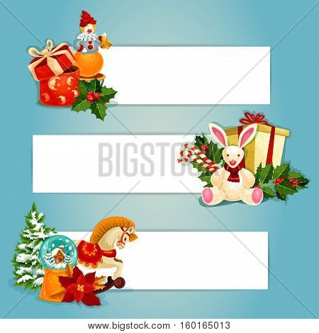 Gifts and toys banners set. Gift boxes with bow, holly berry, candy cane and pine tree, snow globe and poinsettia, rabbit, horse and clown toy. Festive banners ofr New Year holiday design