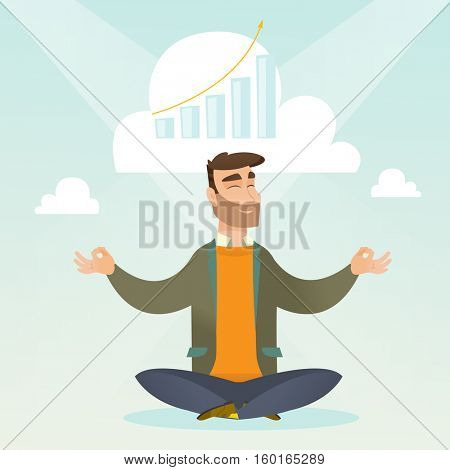Caucasian hipster businessman doing yoga in lotus position and thinking about the growth graph. Peaceful businessman meditating in yoga lotus position. Vector flat design illustration. Square layout.