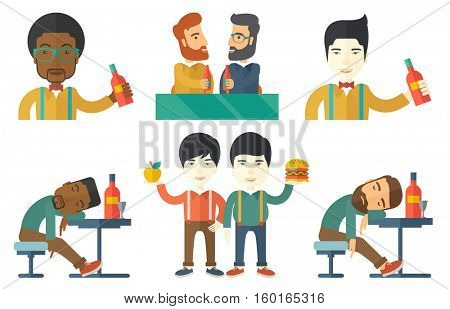 Drunk bar customer deeply sleeping at the table with bottle of wine. Happy man drinking wine at restaurant. Bartender pouring wine. Set of vector flat design illustrations isolated on white background