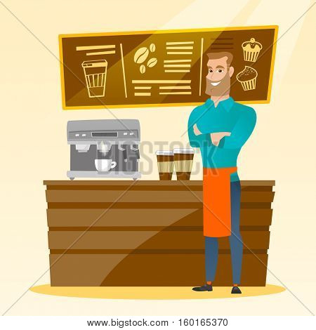 Caucasian friendly barista sanding in front of coffee machine. Male barista at coffee shop. Barista making a cup of coffee. Friendly barista at work. Vector flat design illustration. Square layout.